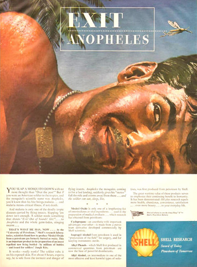 Shell Research Exit Anopheles 1944 | Vintage War Propaganda Posters 1891-1970