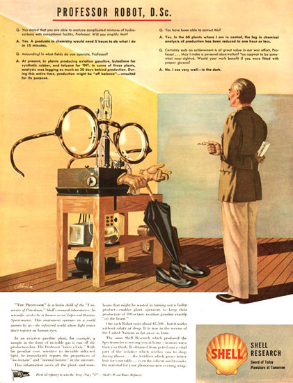 Shell Research Professor Robot D Sc 1944 | Vintage Ad and Cover Art 1891-1970