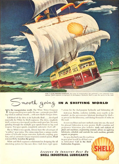 Shell Smooth Going In A Shifting World 1947 | Vintage Ad and Cover Art 1891-1970