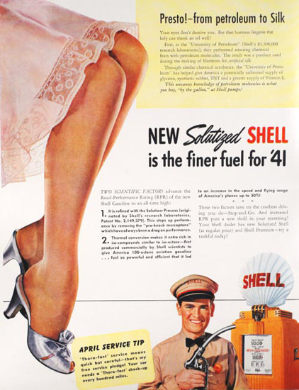 Shell Stockings New Solutized Shell 1941 | Sex Appeal Vintage Ads and Covers 1891-1970