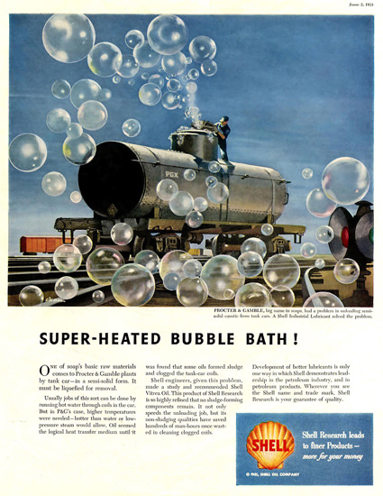 Shell Super Heated Bubble Bath 1951 | Vintage Ad and Cover Art 1891-1970