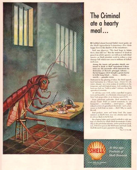 Shell The Criminal Ate A Hearty Meal 1949 | Vintage Ad and Cover Art 1891-1970