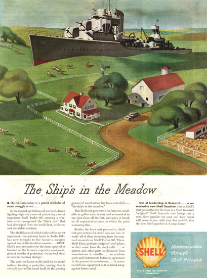 Shell The Ship In The Meadow 1947 | Vintage Ad and Cover Art 1891-1970