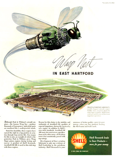 Shell Wasp Nest Pratt Whitney Aircraft 1952 | Vintage Ad and Cover Art 1891-1970