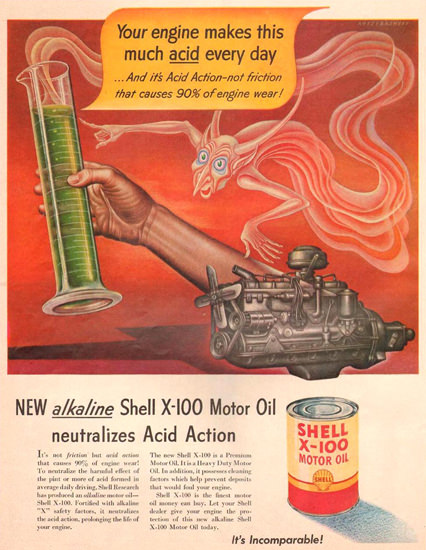 Shell X-100 Motor Oli Genie 1951 | Vintage Ad and Cover Art 1891-1970