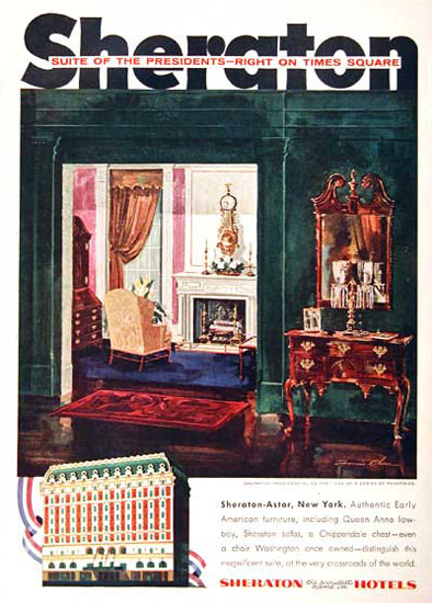Sheraton Astor New York 1955 President Suite | Vintage Travel Posters 1891-1970