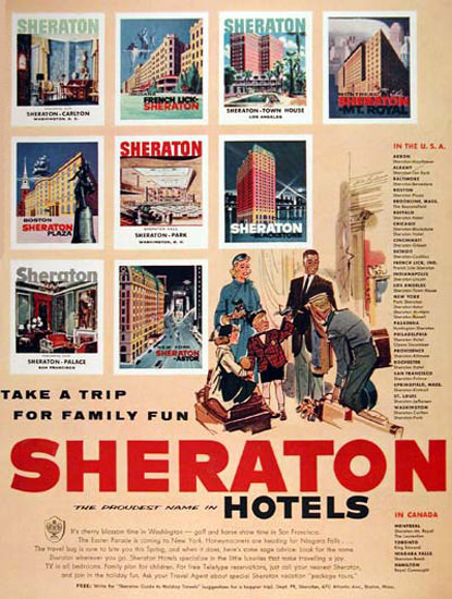 Sheraton Hotels 1956 Take A Trip For Family Fun | Vintage Travel Posters 1891-1970