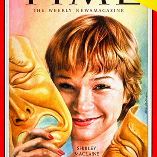 Shirley MacLane Time Magazine 1959-06 by Boris Chaliapin crop | Best of Vintage Cover Art 1900-1970