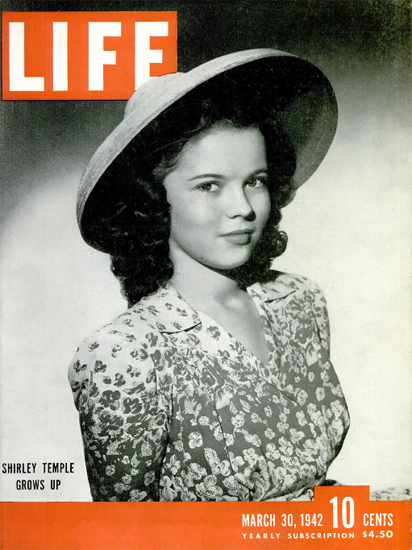 Shirley Temple grows up 30 Mar 1942 Copyright Life Magazine | Life Magazine BW Photo Covers 1936-1970