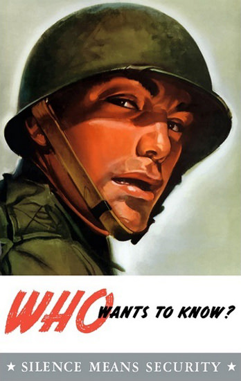Silence Means Security Soldier With Helmet | Vintage War Propaganda Posters 1891-1970
