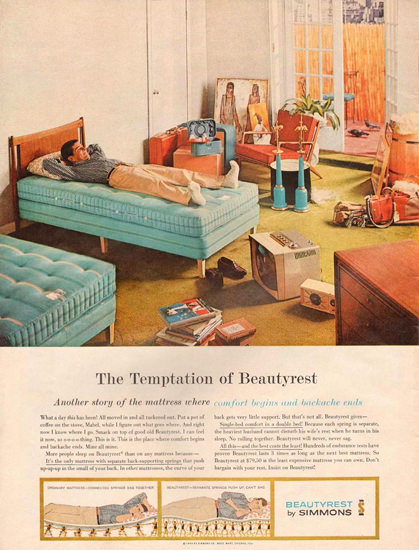 Simmons Beautyrest Bedroom 1959 | Vintage Ad and Cover Art 1891-1970