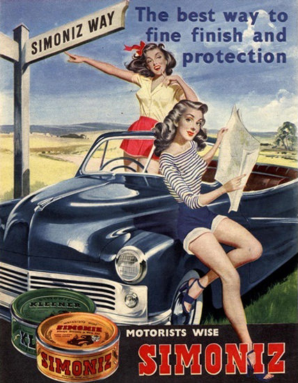 Simoniz Car Polish Girls Best Way To Fine Finish | Sex Appeal Vintage Ads and Covers 1891-1970