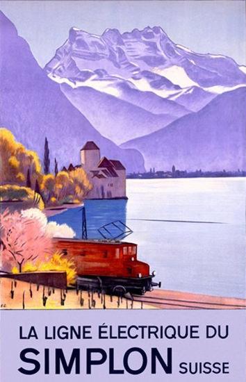 Simplon Suisse Ligne Electrique Chateau Chillon | Vintage Travel Posters 1891-1970