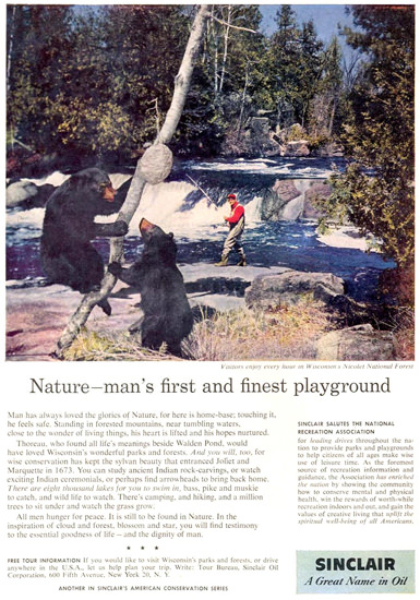Sinclair Oil Bears Beehive Fisherman 1958 | Vintage Ad and Cover Art 1891-1970