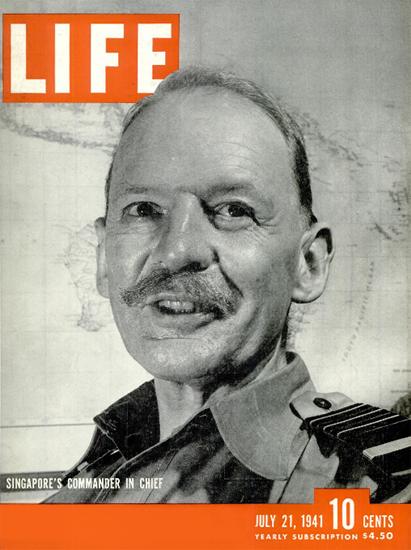 Singapores Commander in Chief 21 Jul 1941 Copyright Life Magazine | Life Magazine BW Photo Covers 1936-1970