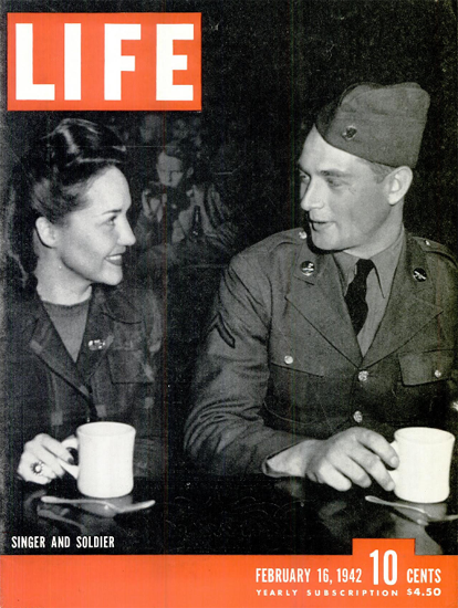 Singer and Soldier 16 Feb 1942 Copyright Life Magazine | Life Magazine BW Photo Covers 1936-1970