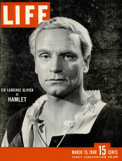 Sir Laurence Olivier as Hamlet 15 Mar 1948 Copyright Life Magazine | Life Magazine BW Photo Covers 1936-1970