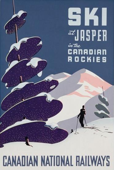 Ski At Jasper Canadian Rockies National Railways | Vintage Travel Posters 1891-1970