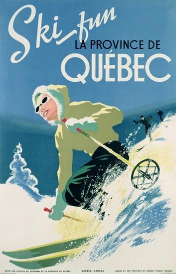 Ski Fun La Province De Quebec 1938   Vintage Travel Posters 1891-1970