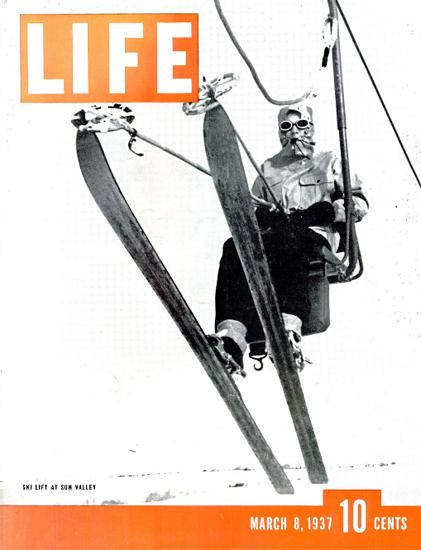 Ski Lift at Sun Valley 8 Mar 1937 Copyright Life Magazine | Life Magazine BW Photo Covers 1936-1970