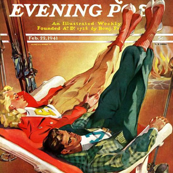 Ski Weld Saturday Evening Post Apres Ski 1941_02_22 Copyright crop | Best of Vintage Cover Art 1900-1970