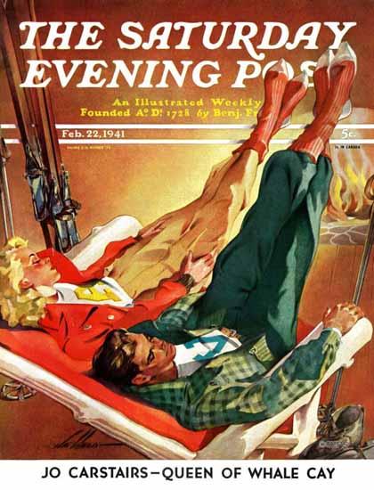 Ski Weld Saturday Evening Post Apres Ski 1941_02_22   The Saturday Evening Post Graphic Art Covers 1931-1969