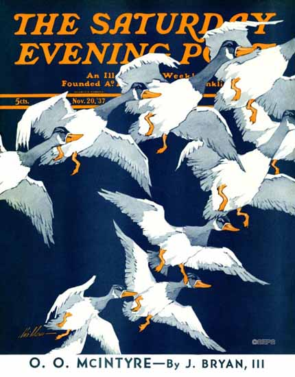 Ski Weld Saturday Evening Post Flying South 1937_11_20 | The Saturday Evening Post Graphic Art Covers 1931-1969