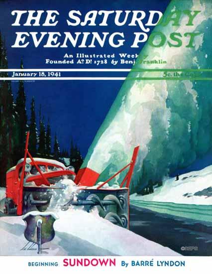 Ski Weld Saturday Evening Post Highway Snowplow 1941_01_18   The Saturday Evening Post Graphic Art Covers 1931-1969
