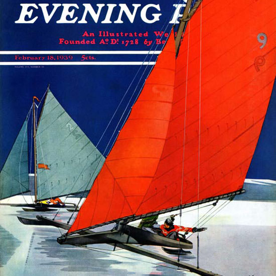Ski Weld Saturday Evening Post Iceboats 1939_02_18 Copyright crop | Best of 1930s Ad and Cover Art