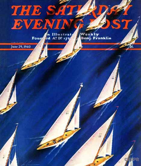 Ski Weld Saturday Evening Post Sailboat Regatta 1940_06_29 | The Saturday Evening Post Graphic Art Covers 1931-1969
