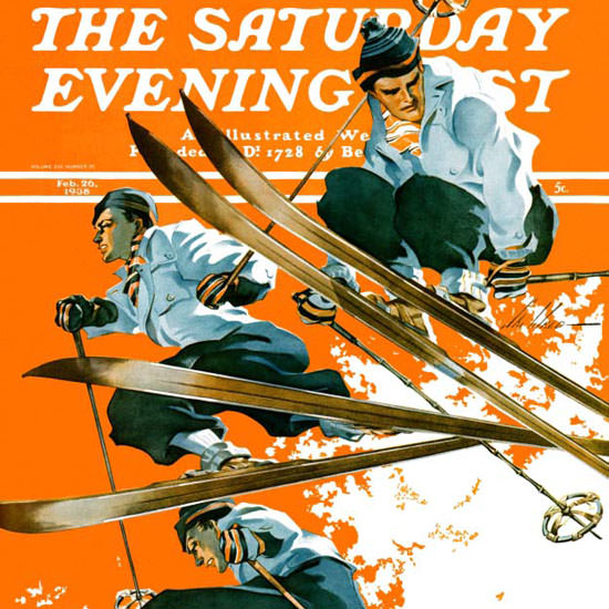 Ski Weld Saturday Evening Post Ski Jumpers 1938_02_26 Copyright crop | Best of 1930s Ad and Cover Art