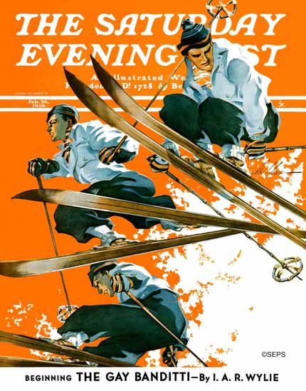 Ski Weld Saturday Evening Post Ski Jumpers 1938_02_26 | The Saturday Evening Post Graphic Art Covers 1931-1969
