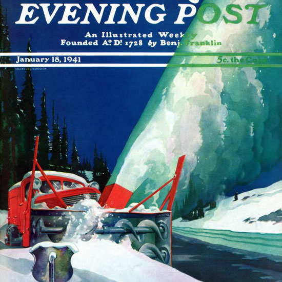 Ski Weld Saturday Evening Post Snowplow 1941_01_18 Copyright crop | Best of Vintage Cover Art 1900-1970