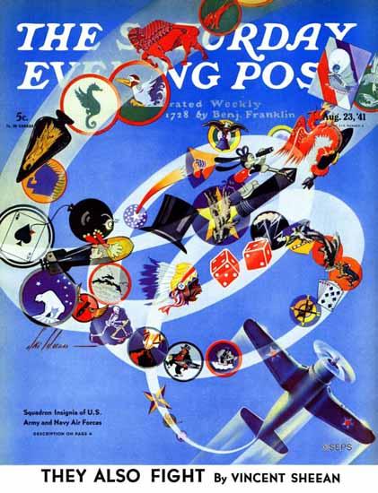 Ski Weld Saturday Evening Post Squadron Insignia 1941_08_23 | The Saturday Evening Post Graphic Art Covers 1931-1969