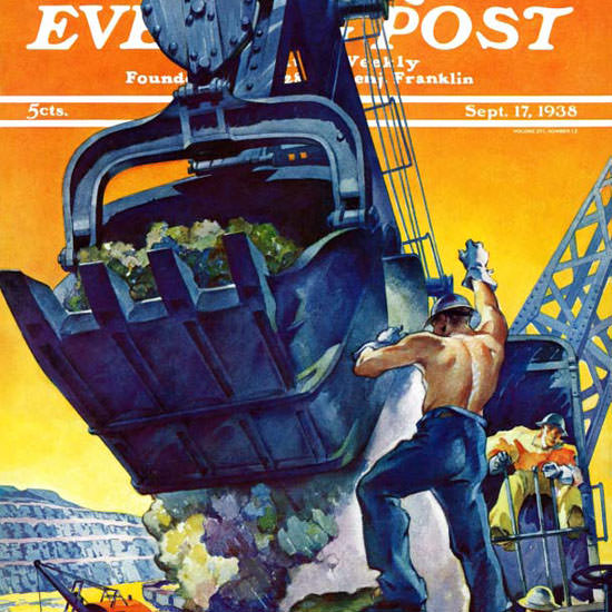 Ski Weld Saturday Evening Post Steam Shovel 1938_09_17 Copyright crop | Best of 1930s Ad and Cover Art