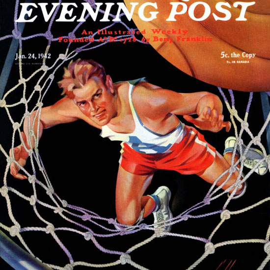 Ski Weld Saturday Evening Post Two Points 1942_01_24 Copyright crop | Best of Vintage Cover Art 1900-1970