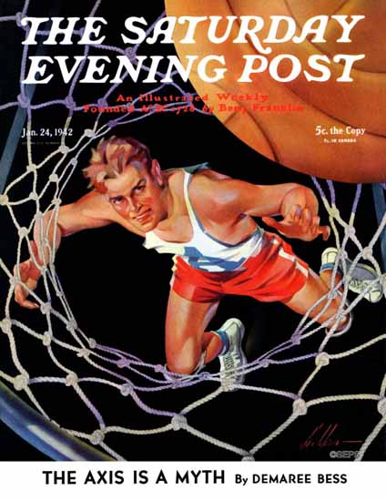 Ski Weld Saturday Evening Post Two Points 1942_01_24 | The Saturday Evening Post Graphic Art Covers 1931-1969