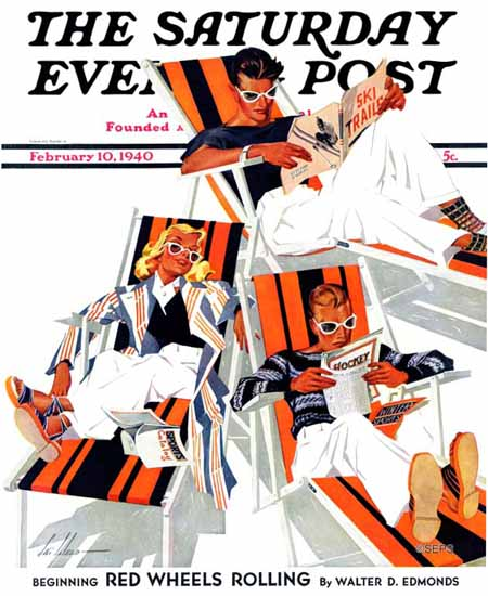 Ski Weld Saturday Evening Post Winter Vacation 1940_02_10 | The Saturday Evening Post Graphic Art Covers 1931-1969
