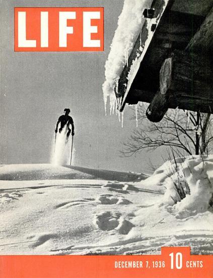 Skiing 7 Dec 1936 Copyright Life Magazine | Life Magazine BW Photo Covers 1936-1970