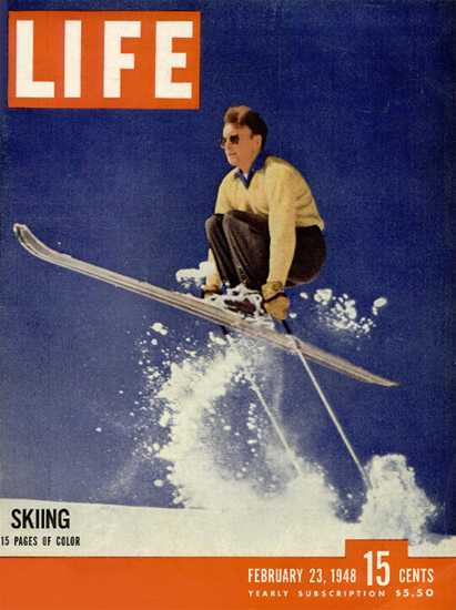 Skiing in Color 23 Feb 1948 Copyright Life Magazine   Life Magazine Color Photo Covers 1937-1970
