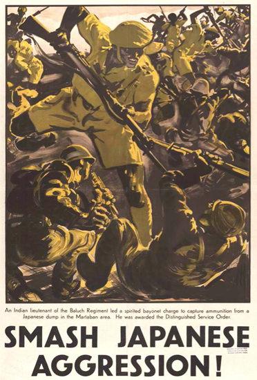 Smash Japanese Aggression Indian Lieutenant | Vintage War Propaganda Posters 1891-1970