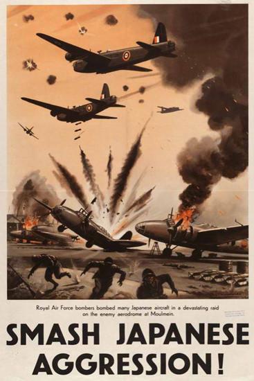 Smash Japanese Aggression Japanese Aircraft   Vintage War Propaganda Posters 1891-1970