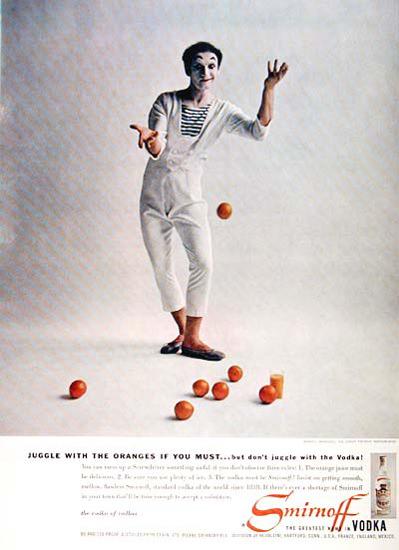 Smirnoff Vodka 1957 Marcel Marceau Clown | Vintage Ad and Cover Art 1891-1970