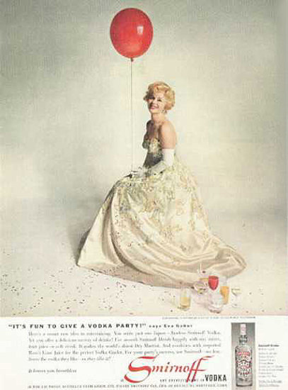 Smirnoff Vodka 1959 Zsa Zsa Gabor | Sex Appeal Vintage Ads and Covers 1891-1970