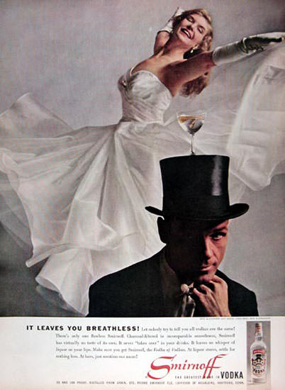 Smirnoff Vodka 1959 Rod Alexander Bambi Lynn | Sex Appeal Vintage Ads and Covers 1891-1970