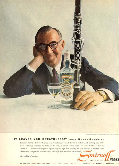 Smirnoff Vodka Benny Goodman 1958 | Sex Appeal Vintage Ads and Covers 1891-1970