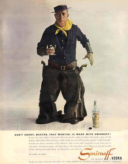 Smirnoff Vodka Buster Keaton 1957 Cowboy | Vintage Ad and Cover Art 1891-1970