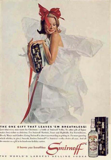 Smirnoff Vodka Gift That Leaves Breathless 1962 | Sex Appeal Vintage Ads and Covers 1891-1970