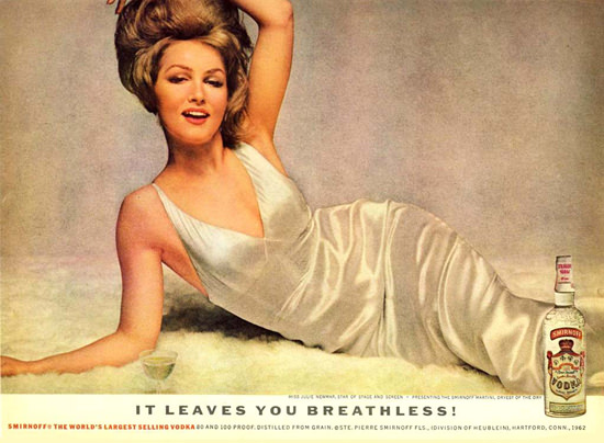 Smirnoff Vodka Julie Newmar Breathless 1962 | Sex Appeal Vintage Ads and Covers 1891-1970