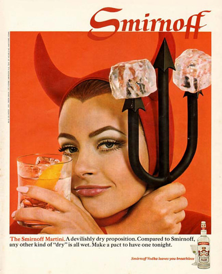 Smirnoff Vodka Martini 1968 | Sex Appeal Vintage Ads and Covers 1891-1970
